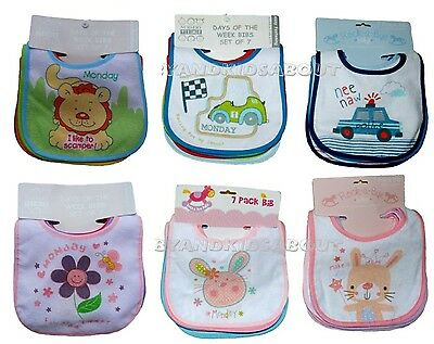 "PACK OF 7 Baby Bibs BOYS GIRLS ""Days of the week"" ''Animals''; Waterproof Back"
