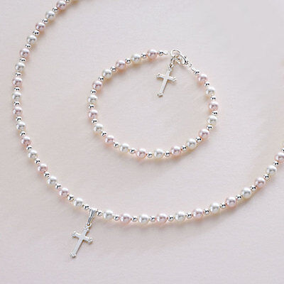 Silver Pearl Christening Communion Gift Adult, Girls, Child's Jewellery Gift Set