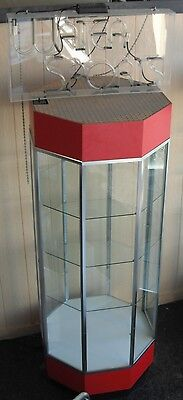 Octagon Glass Display Case with Electric Neon Light, Red Top and Base, Generic