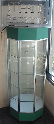 Octagon Glass Display Case with Electric Neon Light, Green Top and Base, Generic