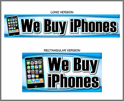 We BUY iPhones Banner Sign poster computer apple cell phone neon alternativ 4s 5