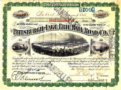 Pittsburgh and Lake Erie Railroad 1926 Stock Certificate