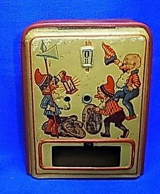 Vintage or Antique Money Bank Mechanical with Gnome and Clock #BU