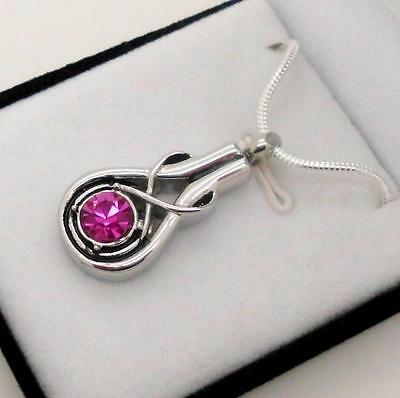 "316L Stainless ""Infinity"" Memorial Keepsake Cremation Urn Pendant Jewellery"