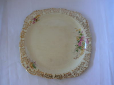 Vintage Lord Nelson Cake Plate Shabby Chic Floral design gold pretty pink shades