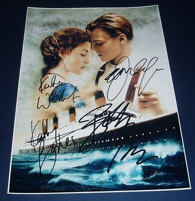 TITANIC MOVIE CAST x4 PP SIGNED POSTER 12X8 WINSLET
