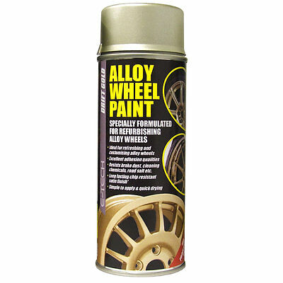 E-TECH Car Alloy Wheel Spray Paint DRIFT GOLD 400ML Can Chip Resistant