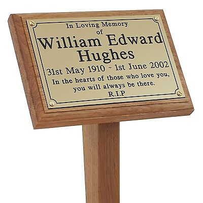 "18"" Wooden Grave Cremation Marker Engraved Memorial Plaque Wood Ground Stake pet"