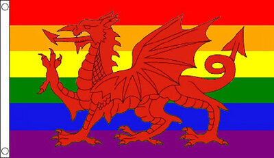5' x 3' Rainbow Wales Flag Welsh Red Dragon Gay Pride LGBT Festival Flags Banner