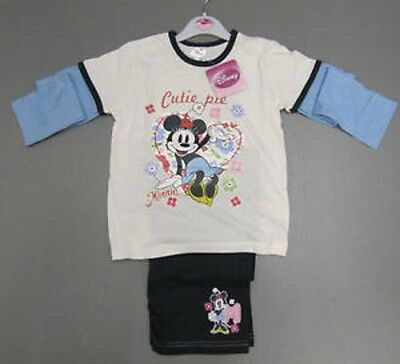 Girls Pyjamas Disney Minnie Mouse White Cream Navy Blue Cutie Pie pj's Christmas