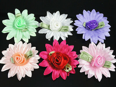 50/100pcs Satin Flower Rose sewing/wedding/the appliques Lots U pick 6Color