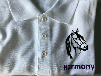 PERSONALISED Horse Polo T Shirt Top age: 3,4,5,6,7,8,9,10,11,12,13,14,15 girls