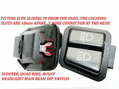 Petrol Scooter / Quad / Motorbike Main Beam, Dipped Headlight On Off Switch New!