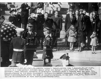 AA-138 JOHN JR SALUTES THE COFFIN OF HIS FATHER PRES JOHN F KENNEDY 8X10 PHOTO
