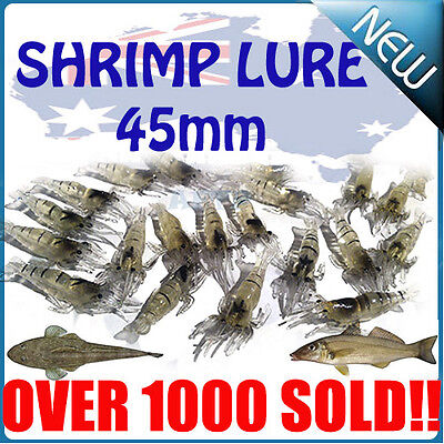 Soft Plastic prawn shrimp lure 4.5cm for BREAM FLATHEAD SNAPPER BULK PACK 20pcs