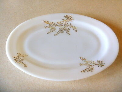 Federal milk glass gold leaf oval serving platter 9 x 12 inches VG+++