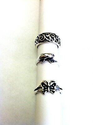 Lot Of 3 Sterling Silver Toe Ring Made In Usa Filligree, Dolphine, Butterfly