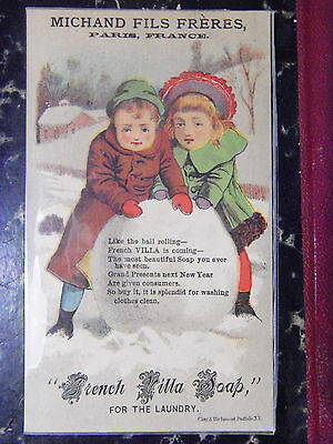 1880's lot x 3 Victorian Trade cards Soap Winter Fun Children Bell's Soapona
