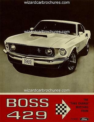 1969 Ford Mustang Fastback Boss 429 A3 Poster Ad Sales Brochure Mint