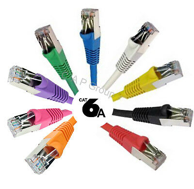 Network Cable TOP SPEC RJ45 Cat6a Ethernet Snagless Shielded Lead FAST 10Gb LOT