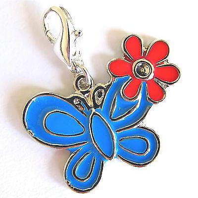 Blue Butterfly with Red Flower Clip on Charm Silver Plated, Enamel