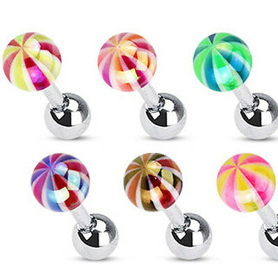 Surgical Steel Tragus / Cartilage / Helix Bar with Metallic Coating Candy Ball
