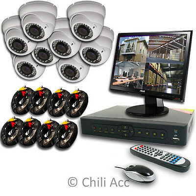 8CH 8 CHANNELS Home Video Surveillance CCTV DVR Security System 8 Outdoor Camera