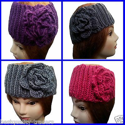 Ladies Girls Chunky Headband Hairband Ear Warmers In Various Design & Colours