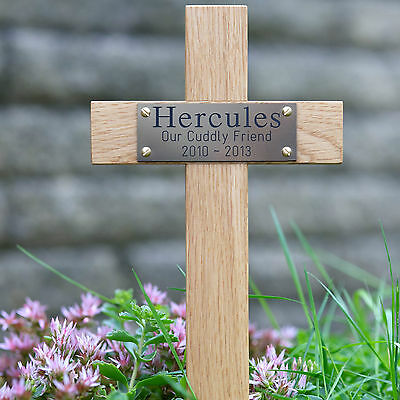 "12"" Tall Wooden Pet Memorial Cross Engraved Plaque Grave Ashes Cremation Marker"