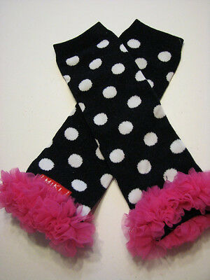 baby girl leg arm warmers with chiffon ruffle polka dots with pink