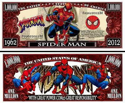 SPIDERMAN - BILLET de collection 1 MILLION DOLLARS ! Super Héros Marvel Comics