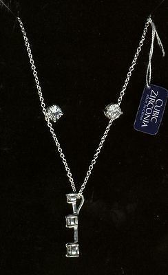 Sterling Silver & Cubic Zirconia Necklace & Earring Set
