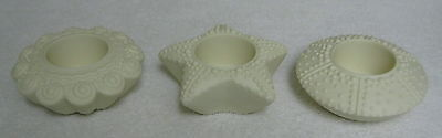 PartyLite Tealight Candle Holders Sea Drifters Bisque Sea Shell Set of 3