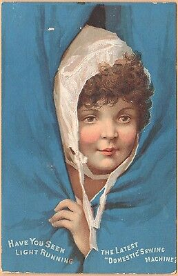 Victorian Trade Card-Domestic Sewing Machine-Norwalk, OH-Girl Behind Curtain