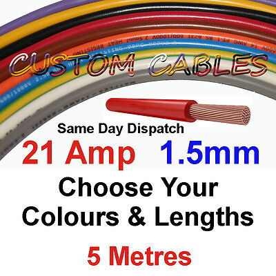 5m RED 21A 12v AUTO CABLE 21 AMP 1.5mm/sq CAR WIRING LOOM WIRE AUTOMOTIVE