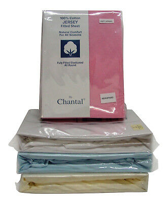 SMALL DOUBLE (4ft) COTTON JERSEY FITTED SHEET AVAILABLE IN BLUE CREAM PINK WHITE
