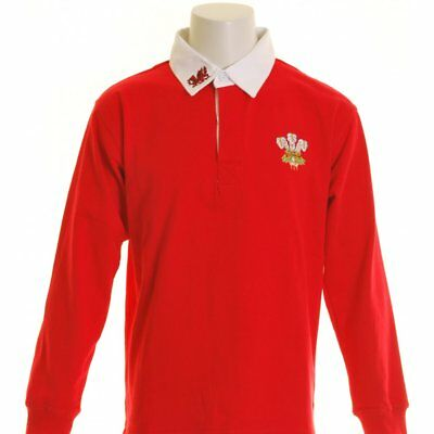 Manav Junior Wales Rugby Shirt Long Sleeve Red and White
