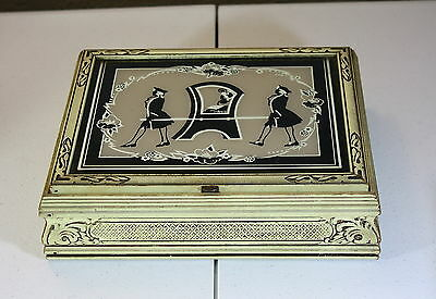 Vintage Art Deco Reverse Painted Wooden Glass Mirror Jewelry Box Sedan Chair