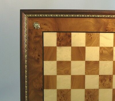 """CHESSBOARD - 22"""" - 2"""" SQ's - DELUXE ELM BRIAR & MAPLE - FROM ITALY #32EBG4"""