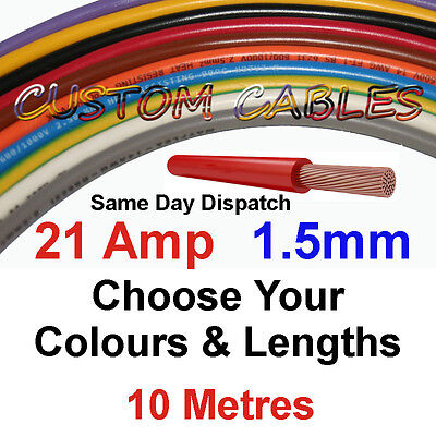 10m RED 21A 12v AUTO CABLE 21 AMP 1.5mm/sq CAR WIRING LOOM WIRE AUTOMOTIVE