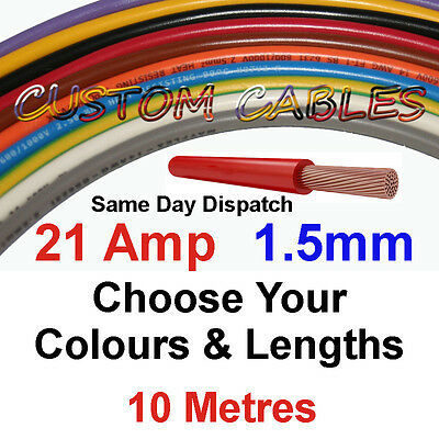 10m WHITE 21A 12v AUTO CABLE 21 AMP 1.5mm/sq CAR WIRING LOOM WIRE AUTOMOTIVE