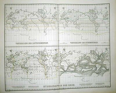 1871 Carl Gräf Weimar 4 Part World Map WINDS, OCEAN CURRENTS, ISOTHERMS, CLIMATE