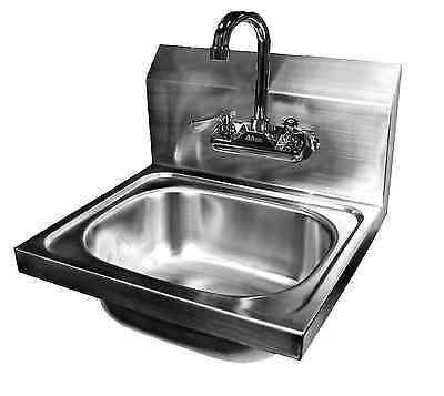 "Wall Mount Hand Sink Stainless Steel 16""x15"" w/ *No Lead Faucet*"
