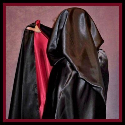 Cape WARLOCK Xtr LONG Satin w Pointed Hood Reverseable Red Black Men's Costume