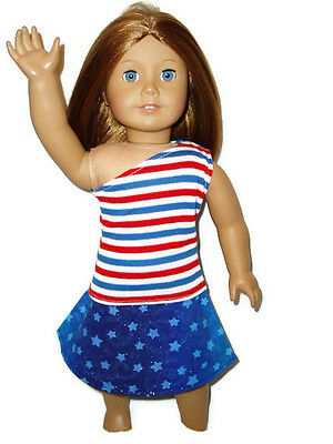 """2pc Patroitic Top Skirt Outfit 18"""" Doll Clothes fits American Girl Special deal"""