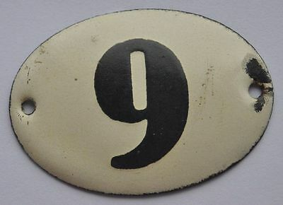 1900s Imperial Russia Apartment Flat Door Hot Enamel Number Sign #9