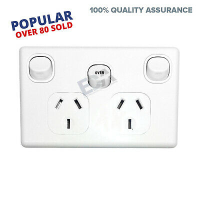 Double Power Point GPO with OVEN 35 Amp Extra Switch Wall Outlet modern style