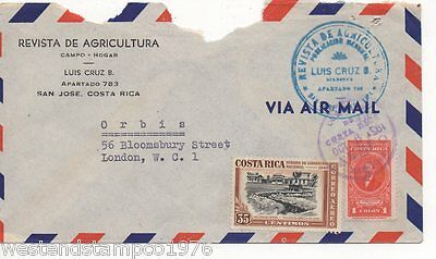 Costa Rica Airmail Cover To England 1951? Violet And Blue H/s.