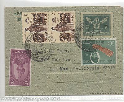 Nepal Prestamped + Added Stamps  Airmail Letter To Usa. Cancelled 1968