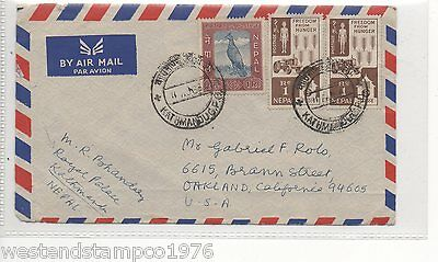 Nepal Postal History Cover To Usa. Cancelled 1964.